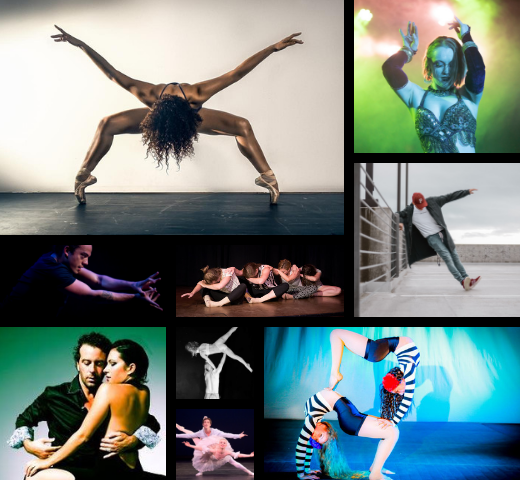 collage of dance images