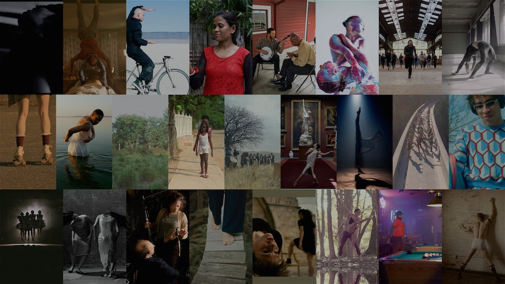 Collage of images showing dance film festival selections