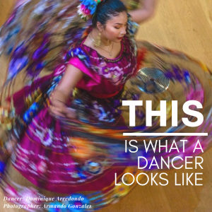 mexican dancer in spinning in pink and purple dress with caption THIS Is What a Dancer Looks Like
