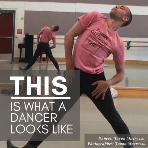 male dancer in leaned back pose with caption THIS is what a dancer looks like