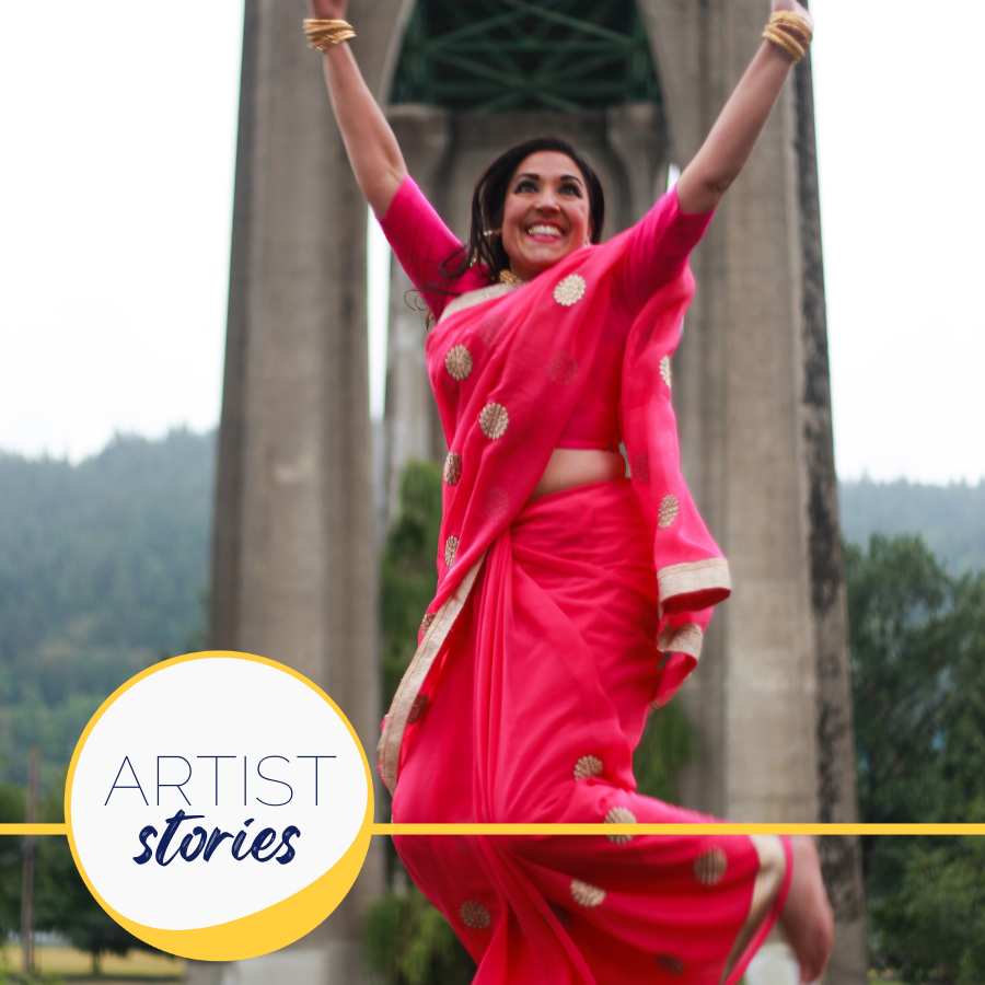 woman in sari jumping at Cathedral park in Portland