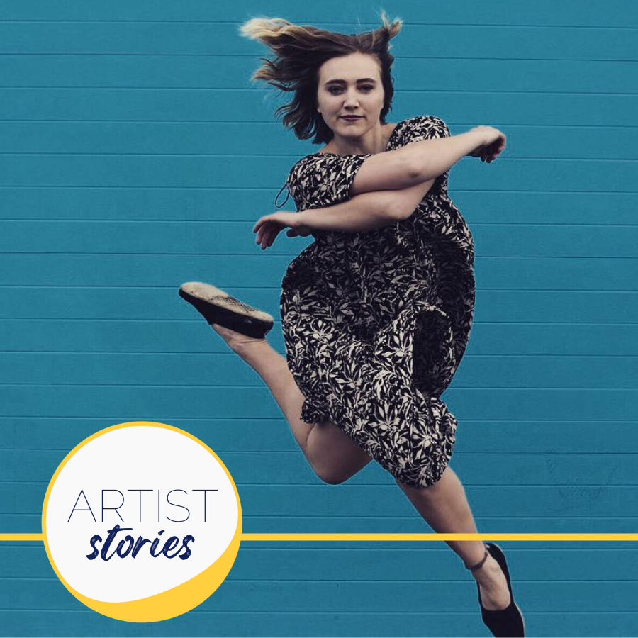 image of woman dancing with teal background