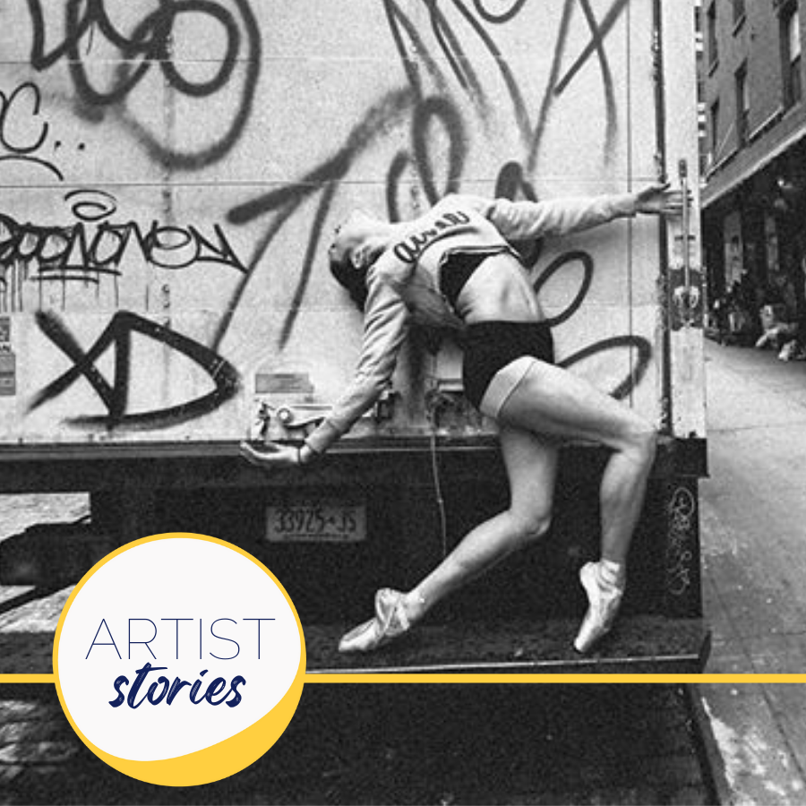 woman in point shoes doing backbend with graffiti background
