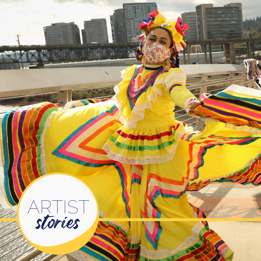 masked woman twirling mexican folkloric dress on a bridge